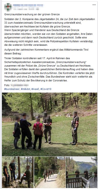 Der Screenshot zeigt die kritisierten Aufnahmen des Assistenzeinsatzes des österreichischen Bundesheeres (Screenshot, 20. April, 15:00)